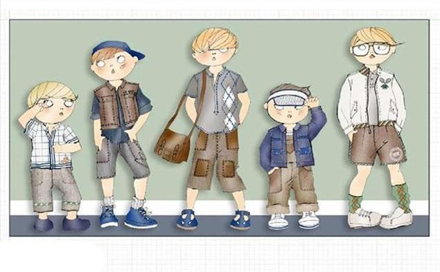 童装休闲时装款式效果图-童装设计-服装设计