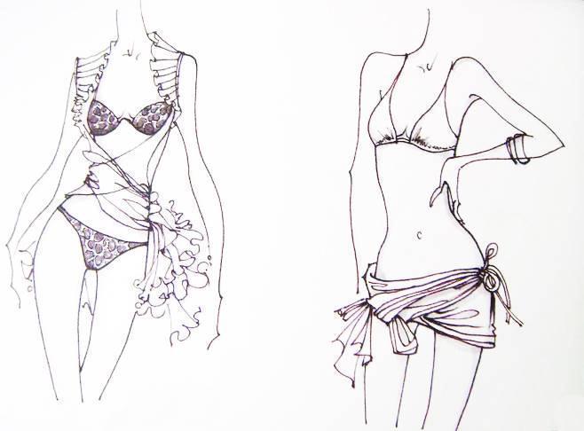 内衣设计手绘效果图收集