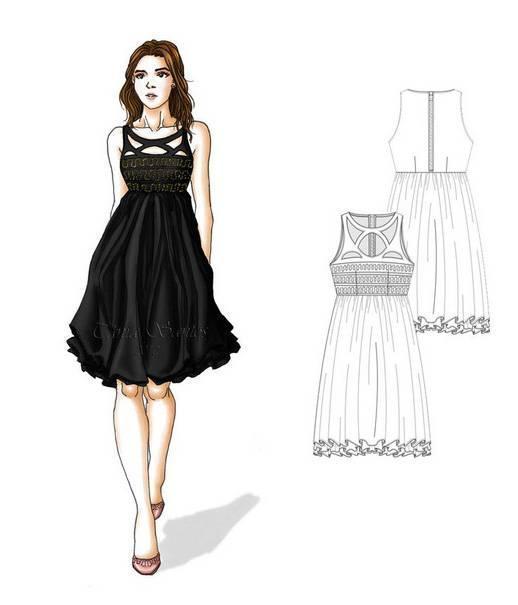 连衣裙款式图收集-女装设计-服装设计