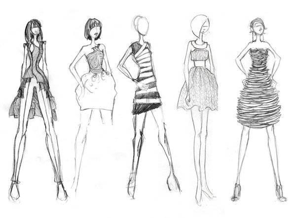 女时装手绘效果图收录作品-女时装手绘效果图收录款式图