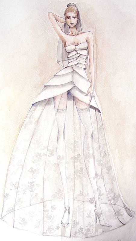 婚纱礼服设计手稿收录作品-婚纱礼服设计手稿收录款式图图片