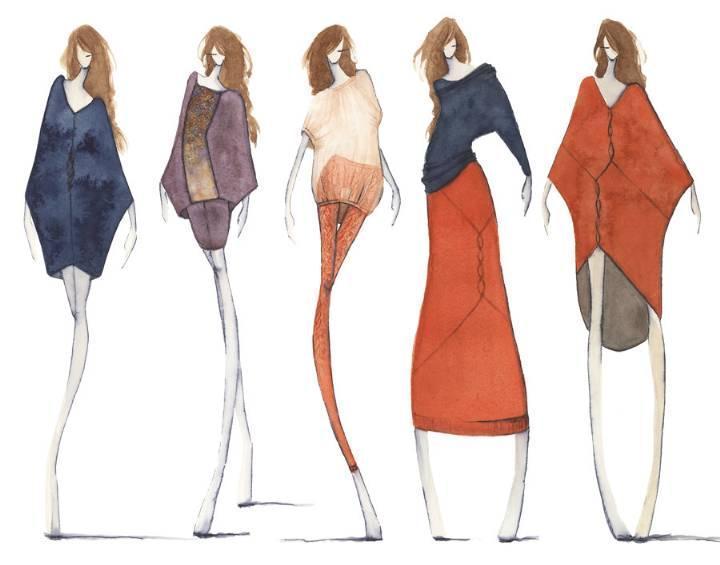 针织手绘效果图-毛衫针织设计-服装设计