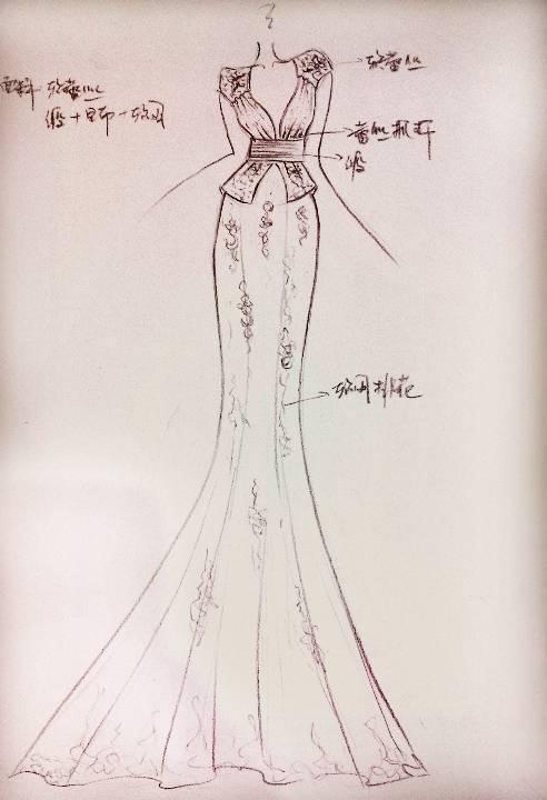 鱼尾款礼服-婚纱礼服设计-服装设计