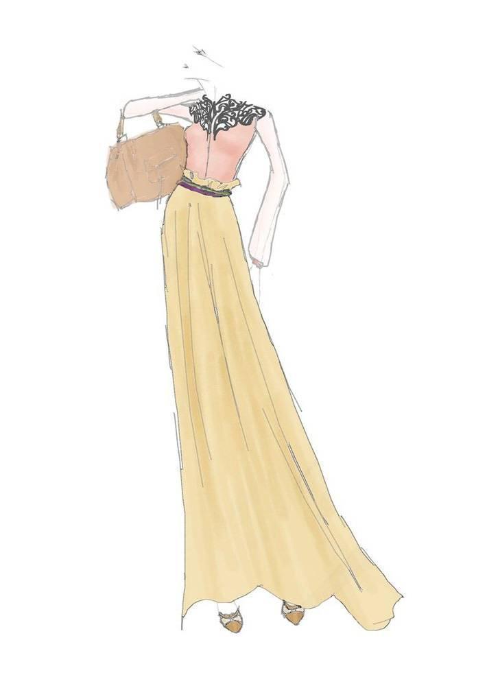 连衣裙手稿-女装设计-服装设计