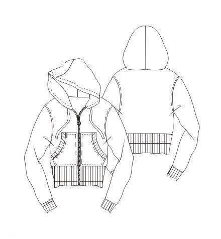 女士运动外套款式图-女装设计-服装设计