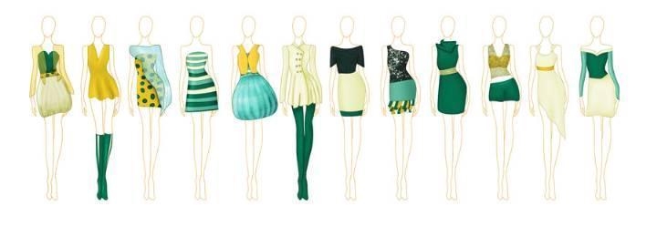 女装手绘效果图-女装设计-服装设计