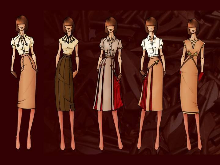 时尚ol女装效果图-女装设计-服装设计