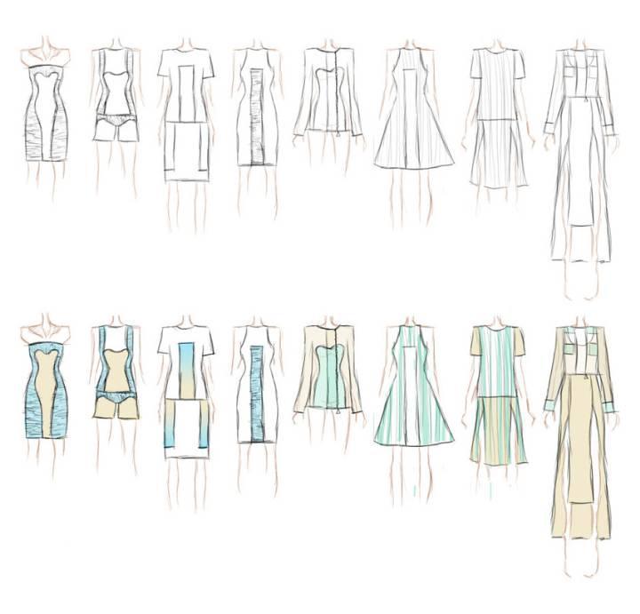 时装系列手绘效果图