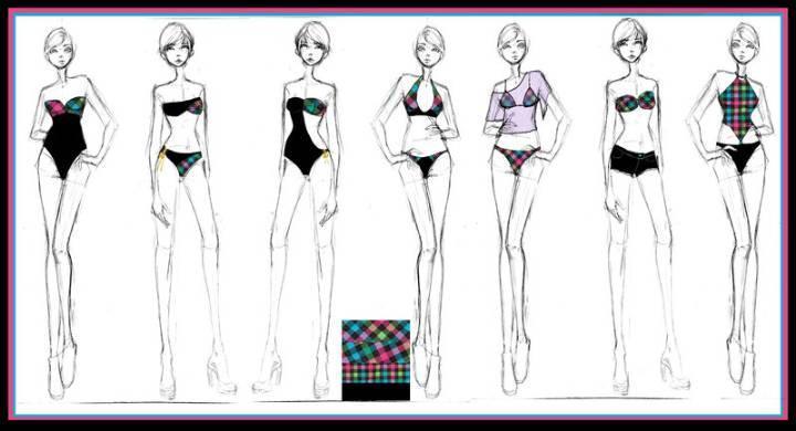 泳装设计手绘效果图