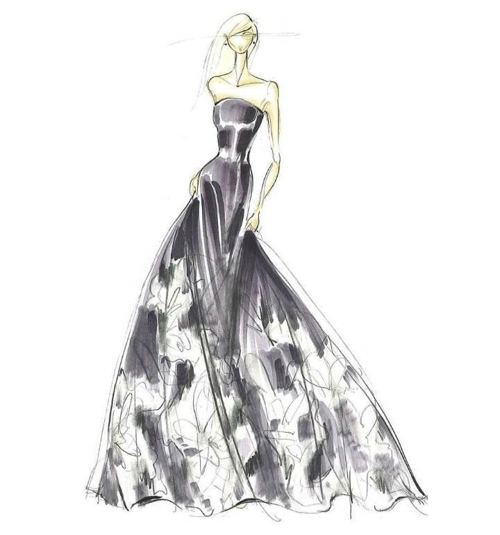 晚礼服设计手绘效果图-婚纱礼服设计-服装设计