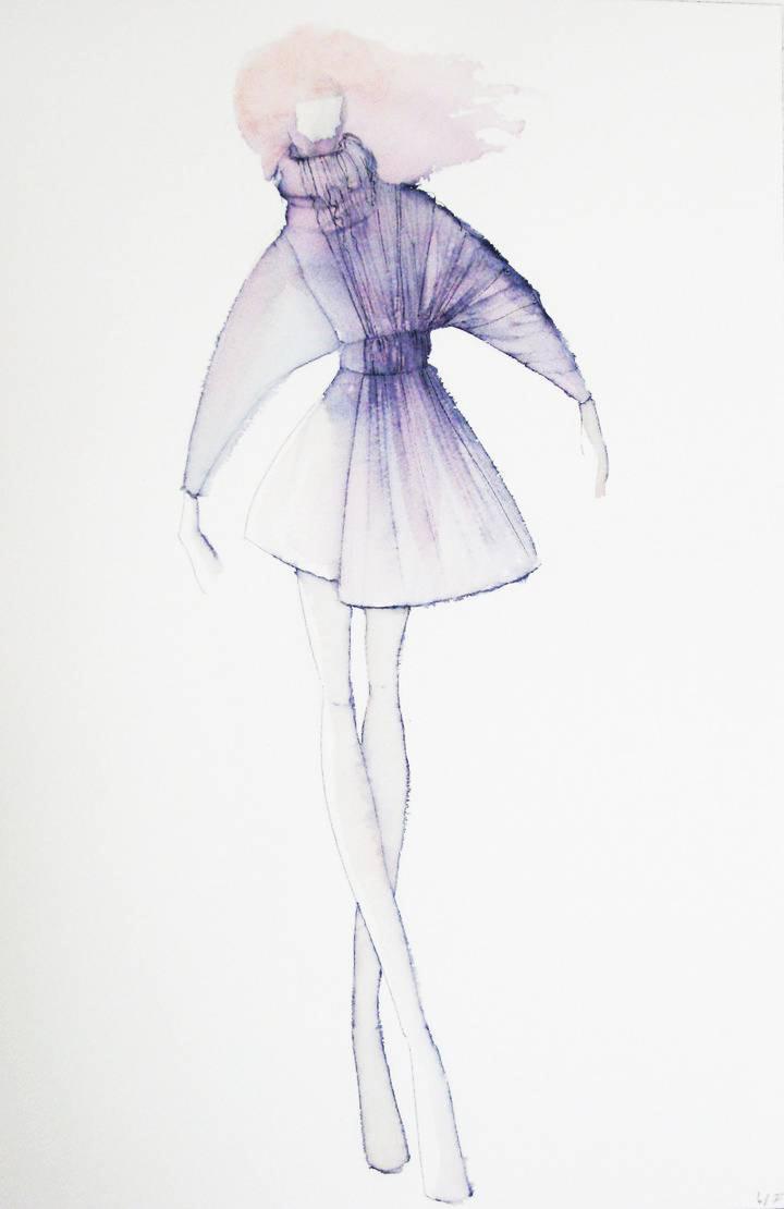 针织连衣裙手绘效果图