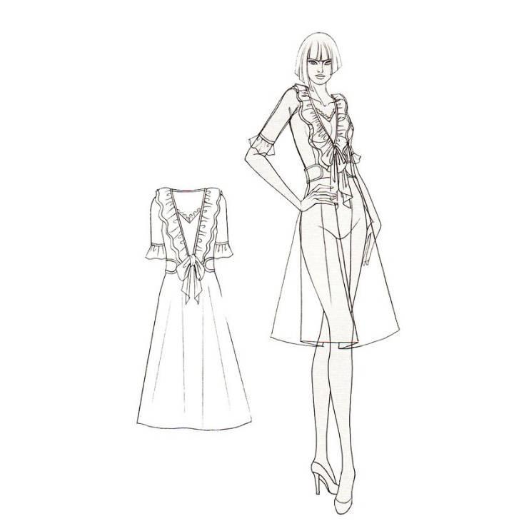 连衣裙手绘效果图-女装设计-服装设计