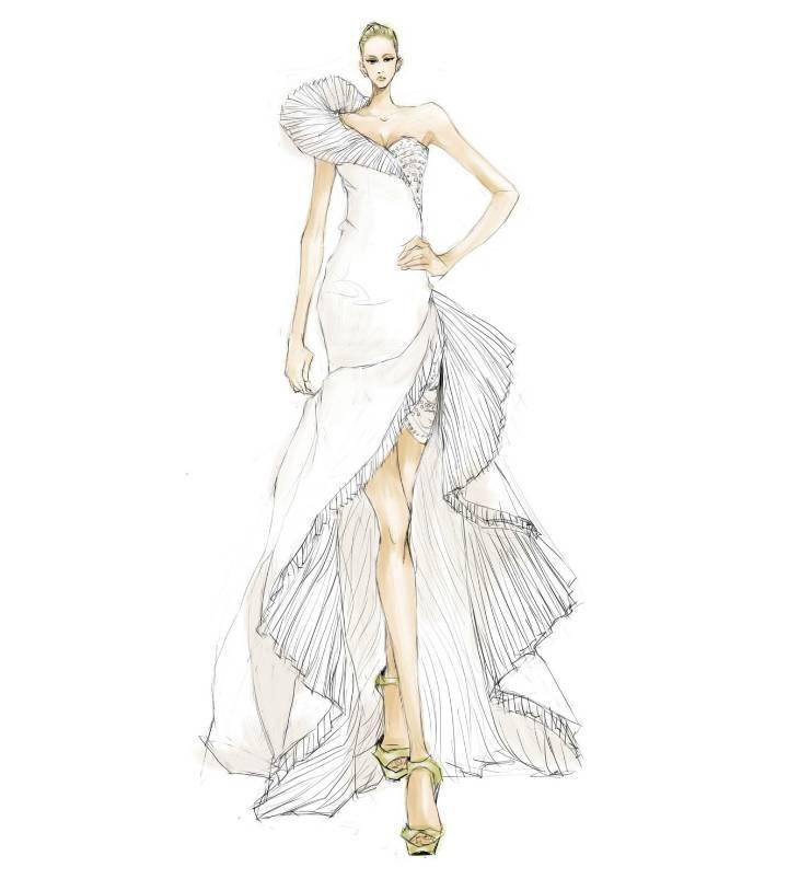婚纱晚礼服设计手稿