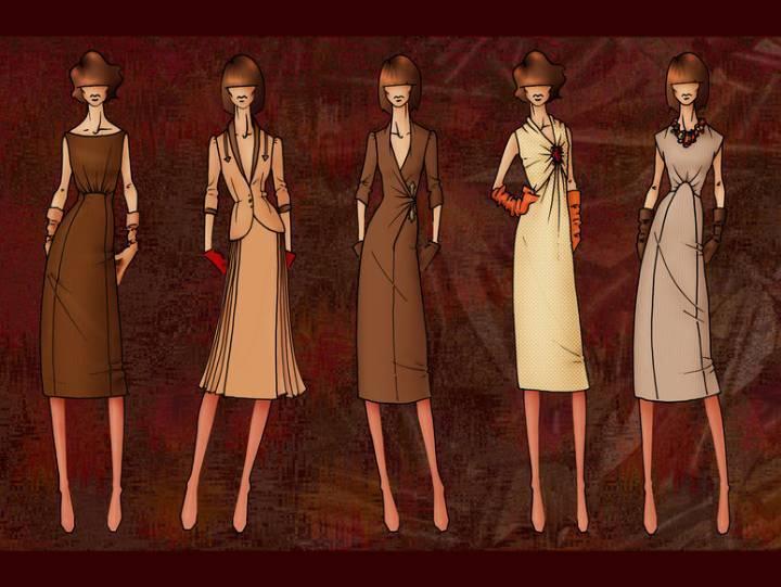 ol女时装手绘效果图作品-ol女时装手绘效果图款式图