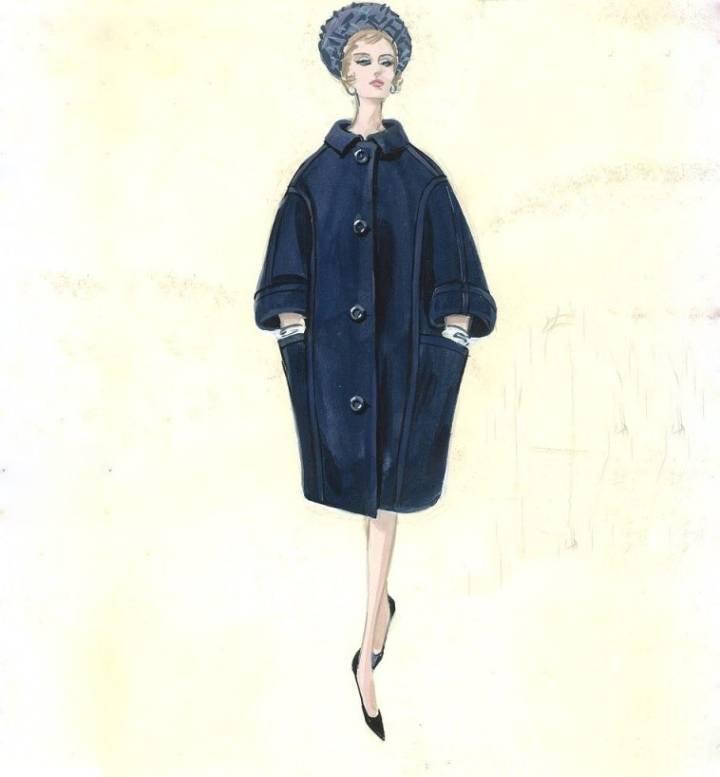 女装大衣手绘效果图-女装设计-服装设计