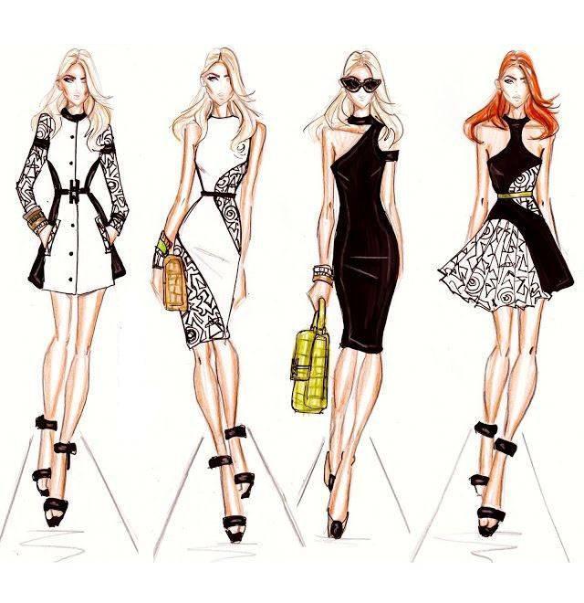 时尚女装手绘效果图-女装设计-服装设计