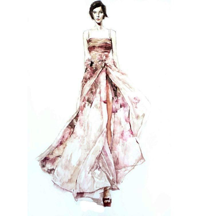 连衣裙手绘效果图