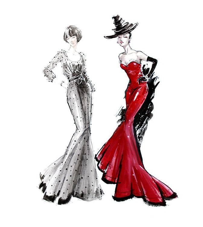 晚礼服手绘效果图作品-晚礼服手绘效果图款式图