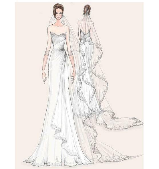 婚纱手绘效果图-婚纱礼服设计-服装设计