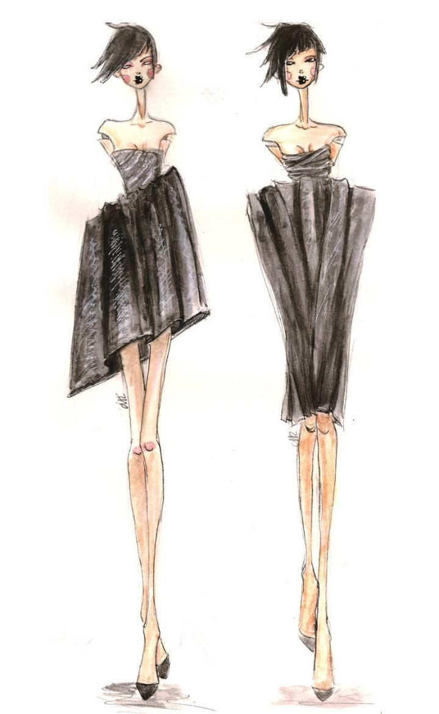 小礼服设计手稿作品-小礼服设计手稿款式图