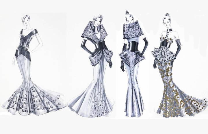 创意礼服手稿-婚纱礼服设计-服装设计