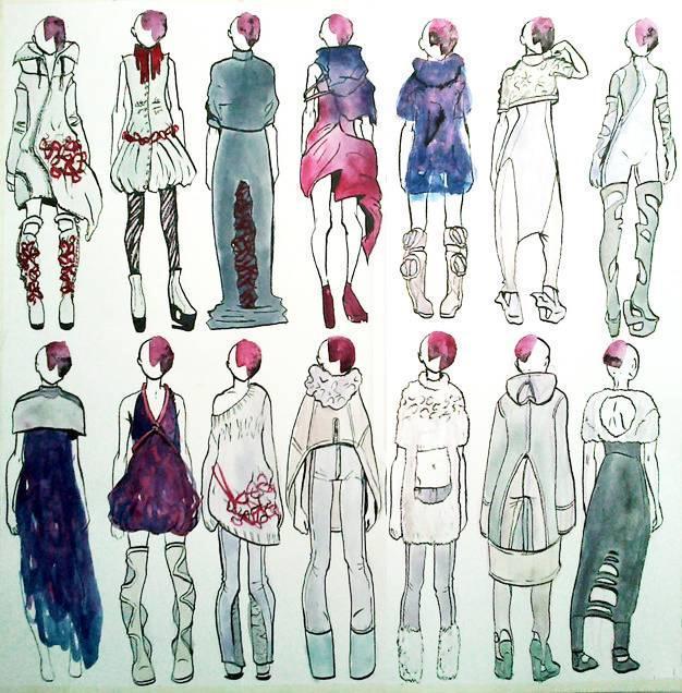 创意时装手绘效果图-女装设计-服装设计