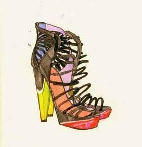 配饰设计-鞋子手绘效果图-鞋帽配饰设计-服装设计