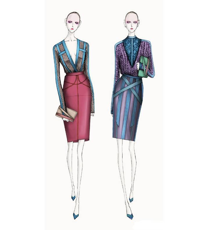 ol女装手绘效果图-女装设计-服装设计