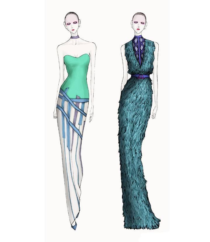 晚礼服设计手稿作品-晚礼服设计手稿款式图图片