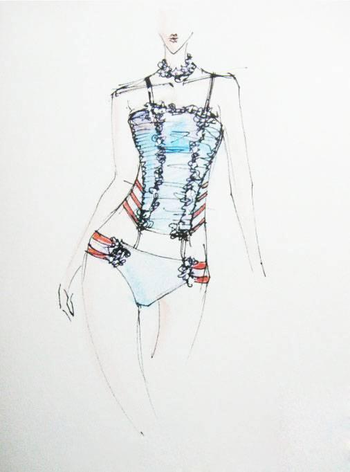 泳装手绘效果图-内衣/家居设计-服装设计