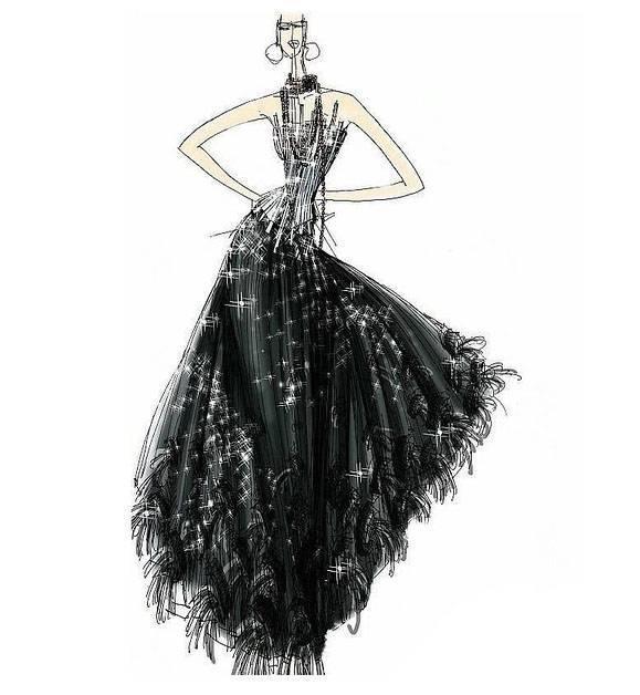晚禮服手繪效果圖-婚紗禮服設計-服裝設計