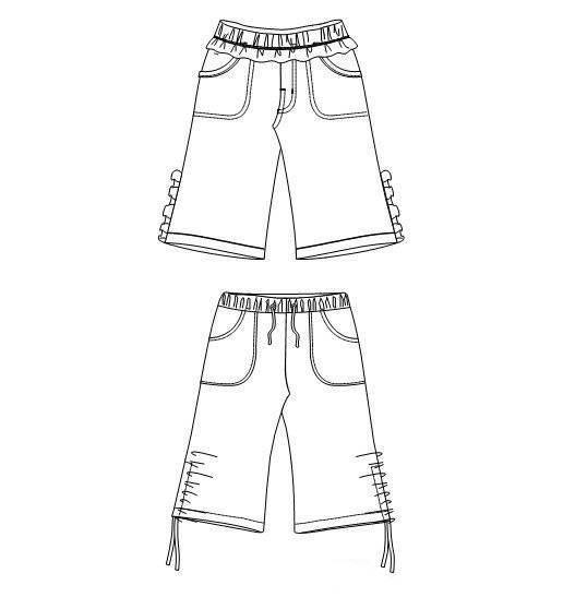 童装短裤款式图-童装设计-服装设计