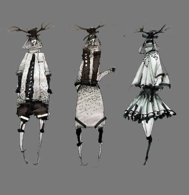 创意女装手绘效果图-女装设计-服装设计