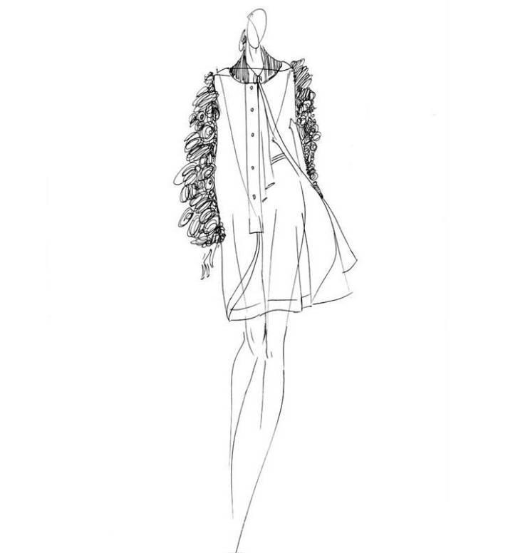 外套设计手稿素描图