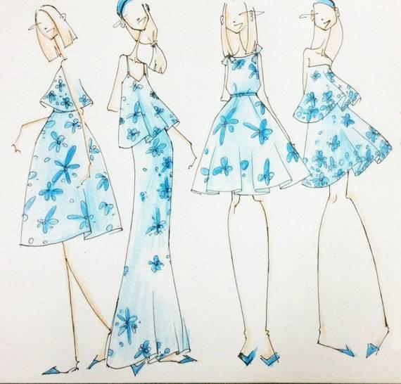 同料连衣裙手绘效果图-女装设计-服装设计