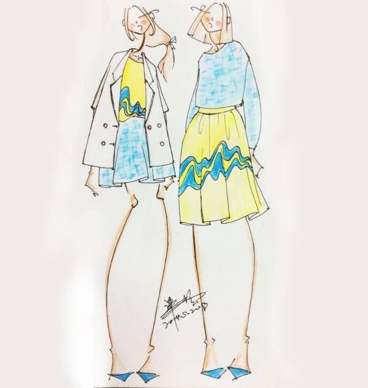 时装手绘效果图-女装设计-服装设计