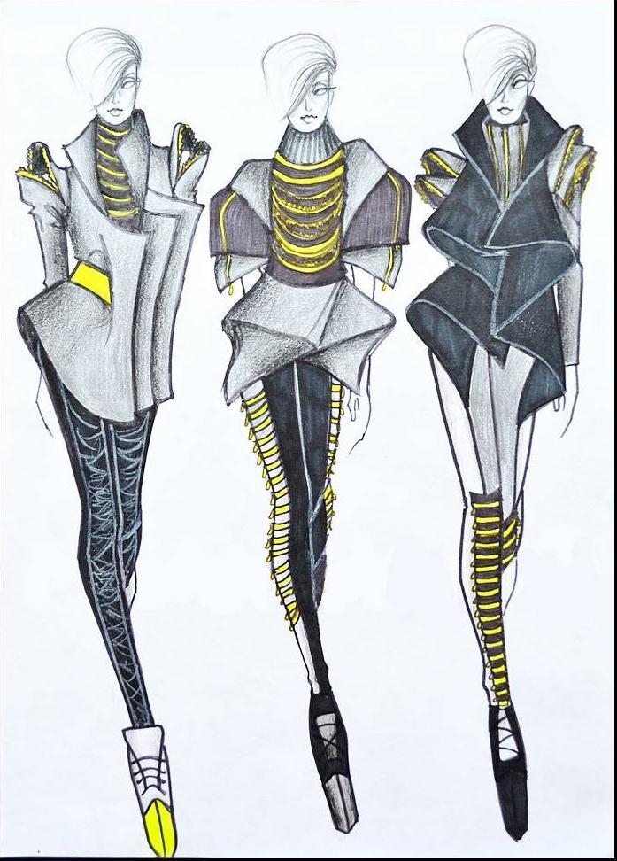 未来创意女装手稿-女装设计-服装设计