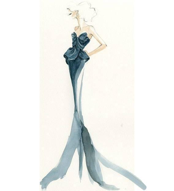 晚礼服效果图-婚纱礼服设计-服装设计