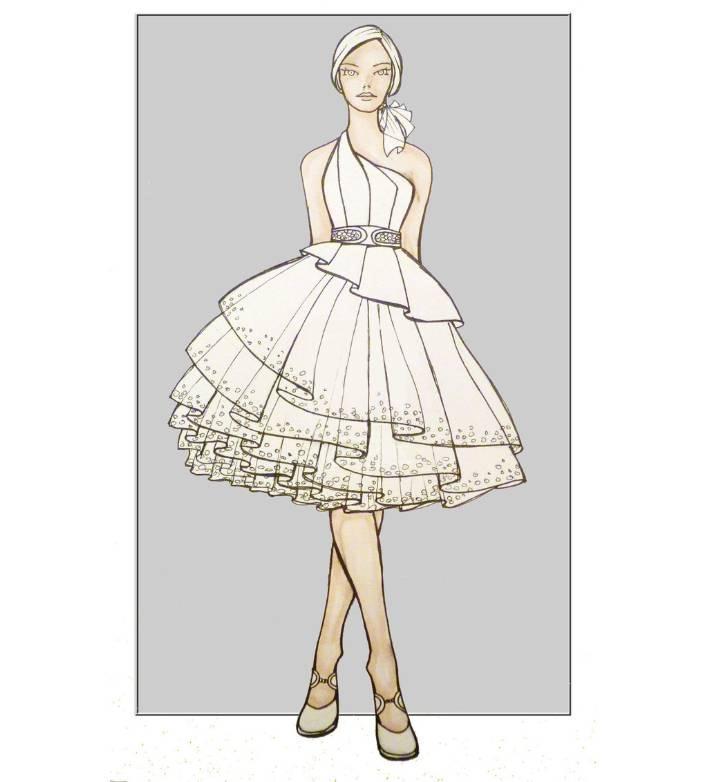 小礼服效果图-婚纱礼服设计-服装设计