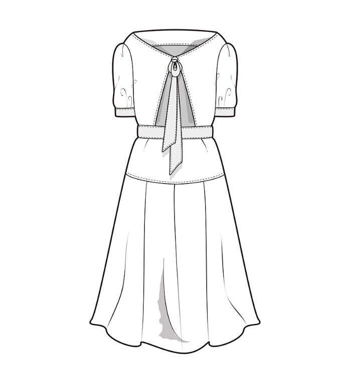 连衣裙裙子式图-女装设计-服装设计