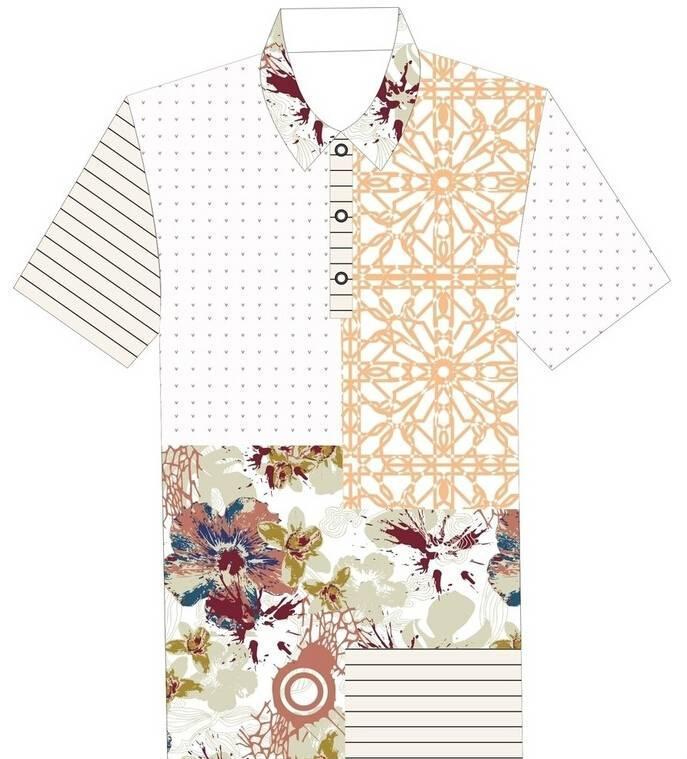 男士花衬衫设计作品-男士花衬衫设计款式图