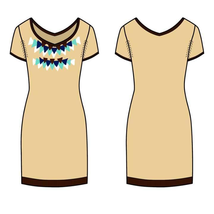 针织连衣裙款式图-毛衫针织设计-服装设计