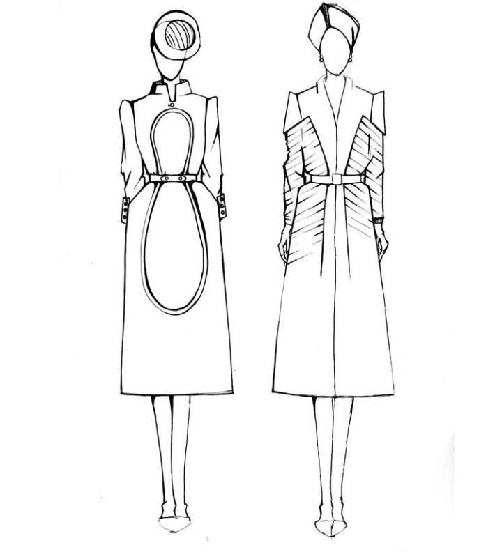 大衣风衣手稿效果-女装设计-服装设计