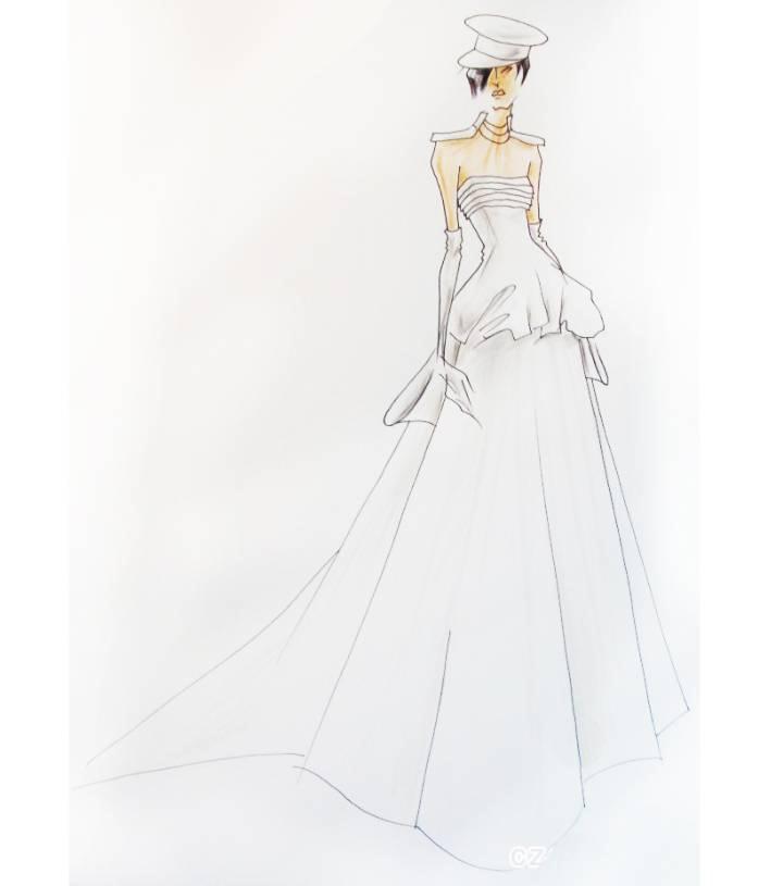 中性婚纱手稿-婚纱礼服设计-服装设计