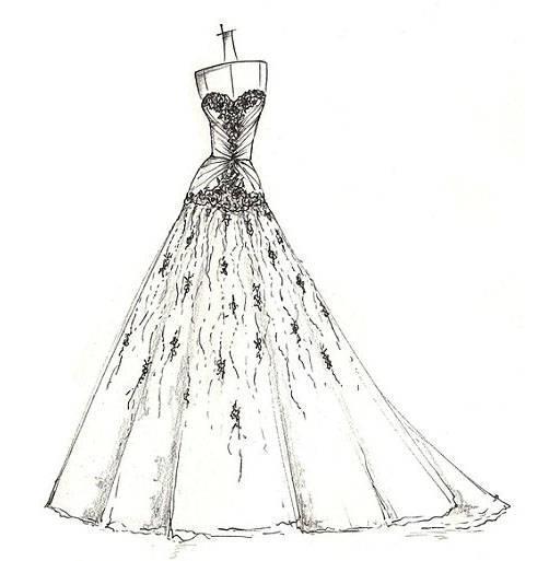 婚纱手稿作品-婚纱手稿款式图
