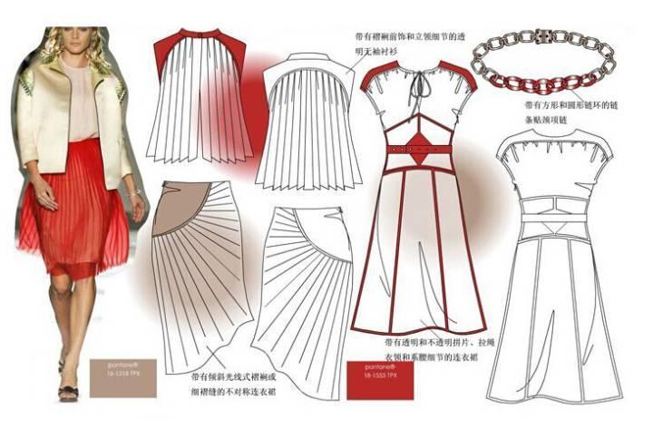 裙子款式图-女装设计-服装设计