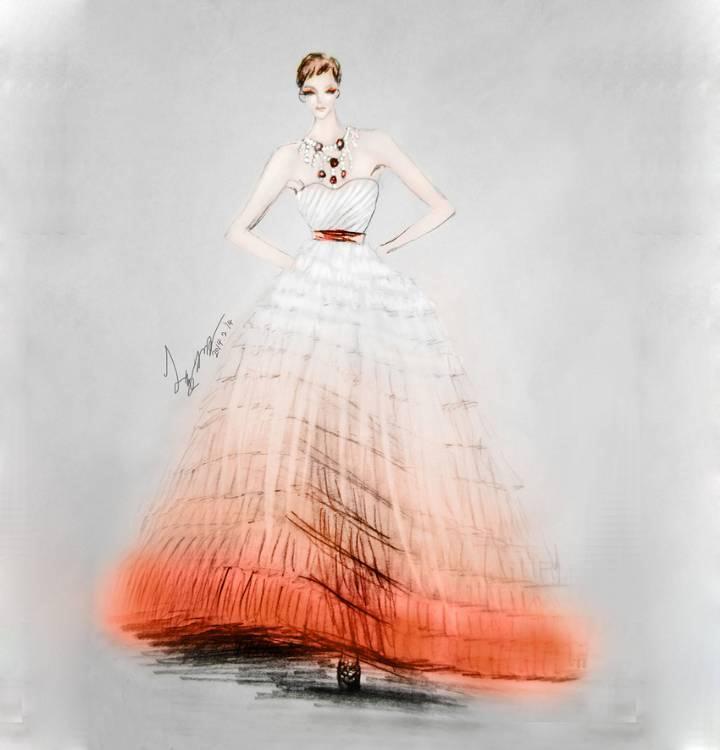 婚纱晚礼服效果图-婚纱礼服设计-服装设计