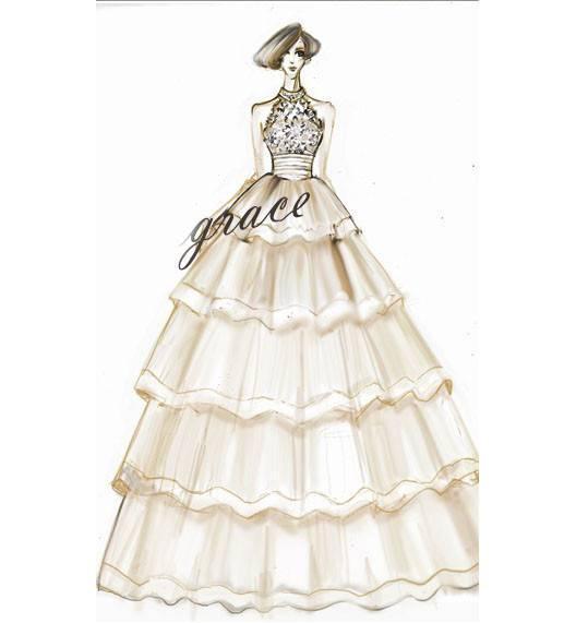 婚纱晚礼服手稿-婚纱礼服设计-服装设计