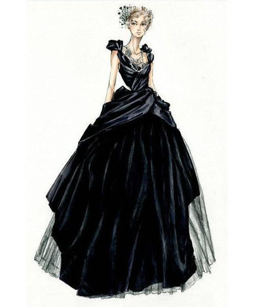 礼服裙子效果图稿-婚纱礼服设计-服装设计