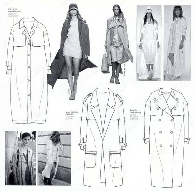 大衣风衣外套款式图